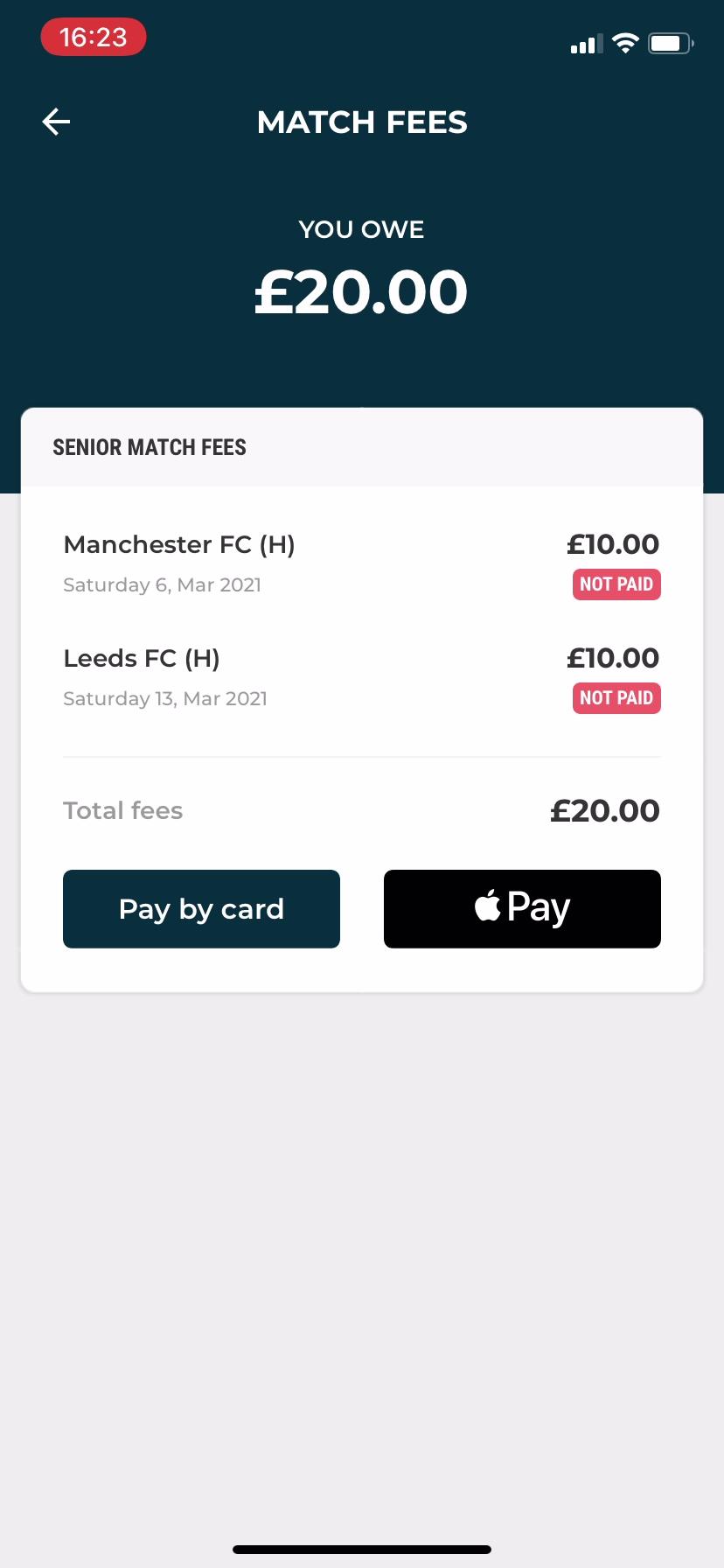 Pay multiple match fees Club app