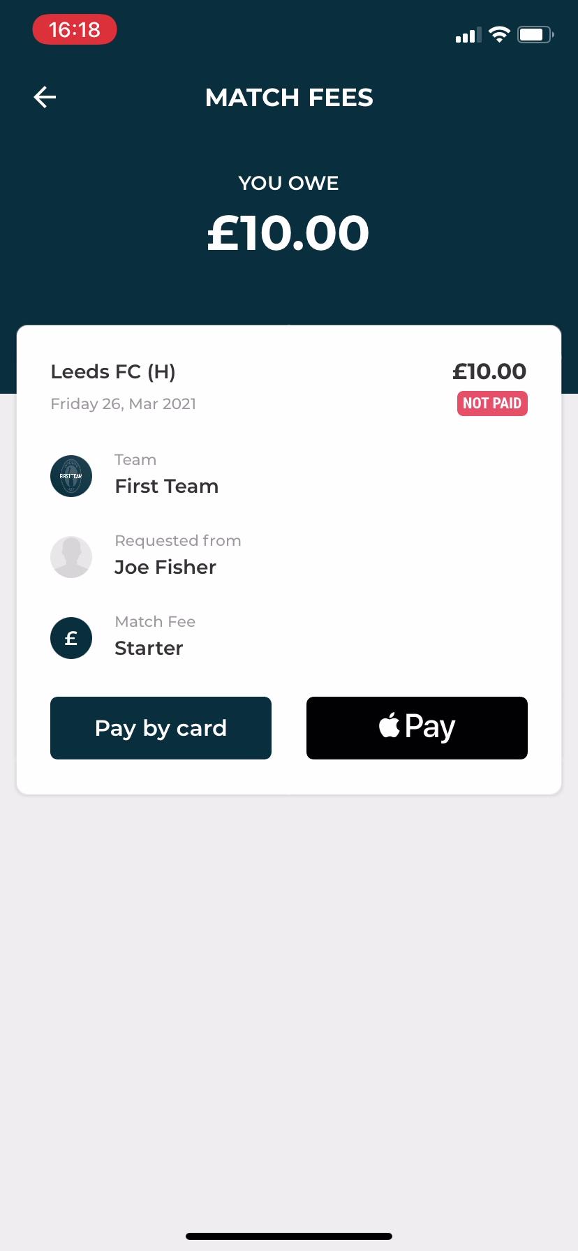Pay single match fee Club app