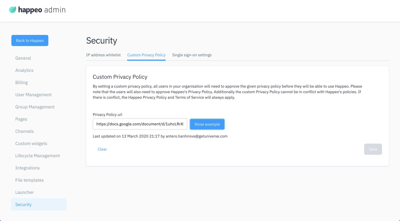 Custom privacy policy
