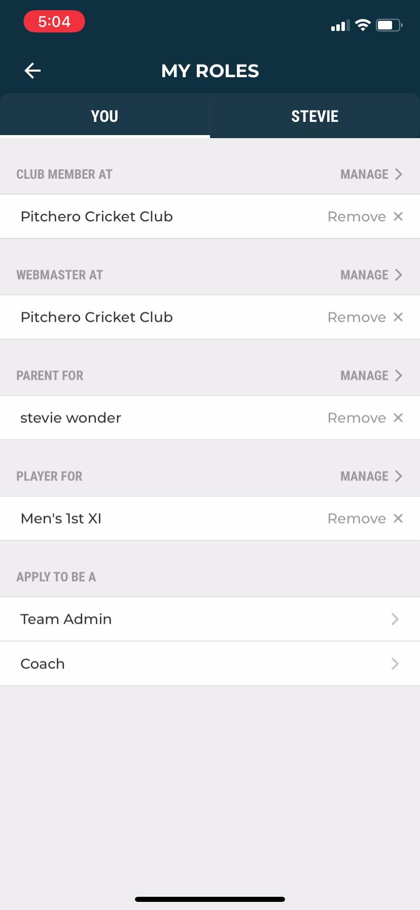 View roles club app