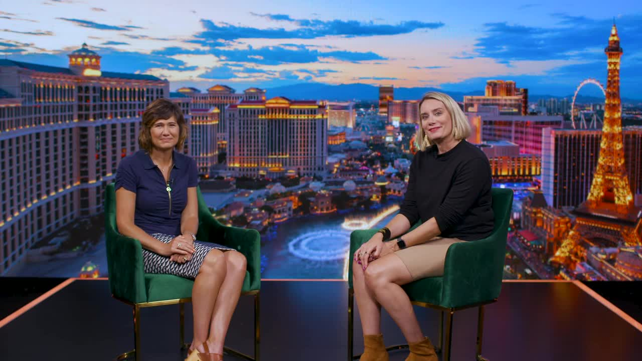 Annie Hancock and Kelley Schultz on the set for How to re:Invent