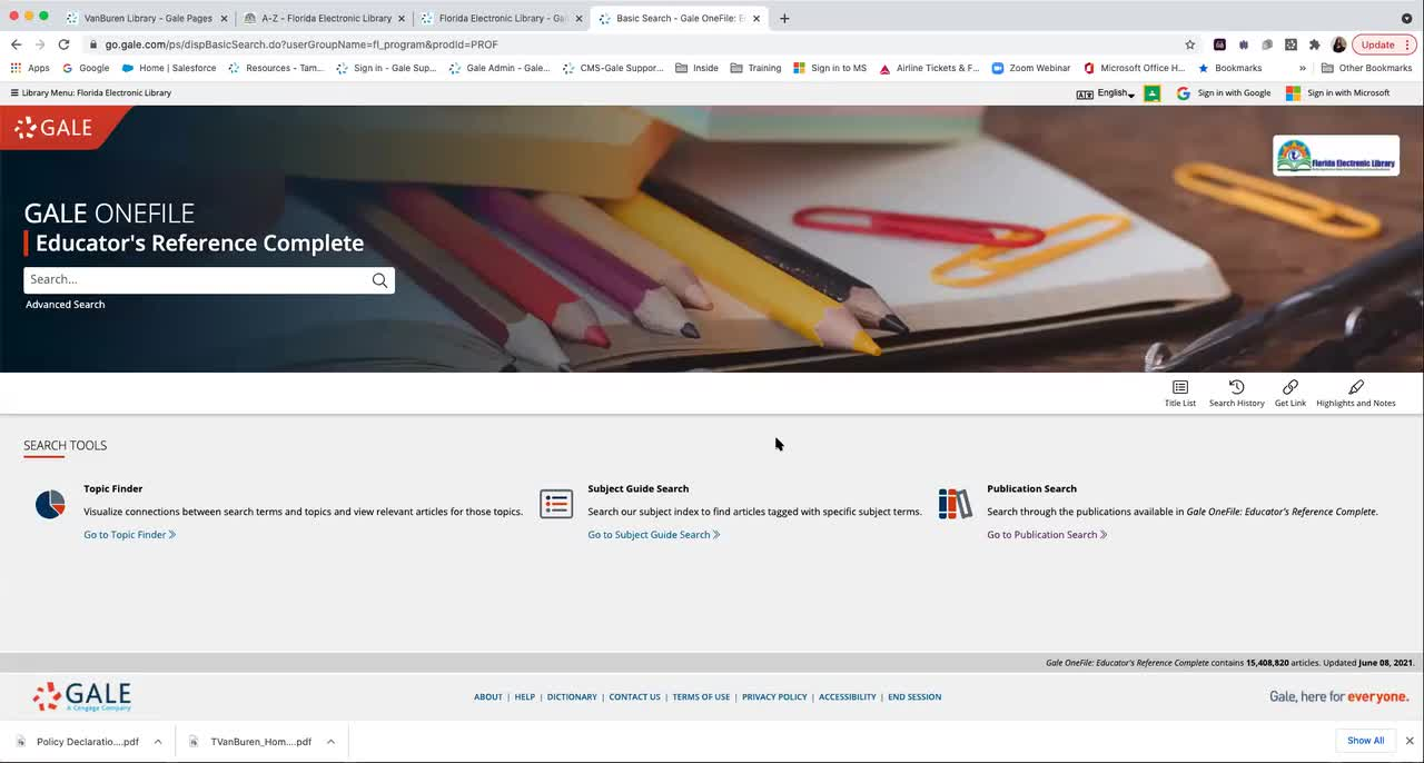 For FEL: Gale Resources from Florida Electronic Library for Professional Development Thumbnail