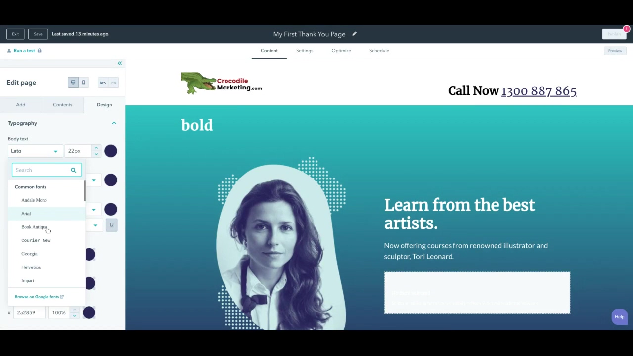 Landing Page Design - style and font