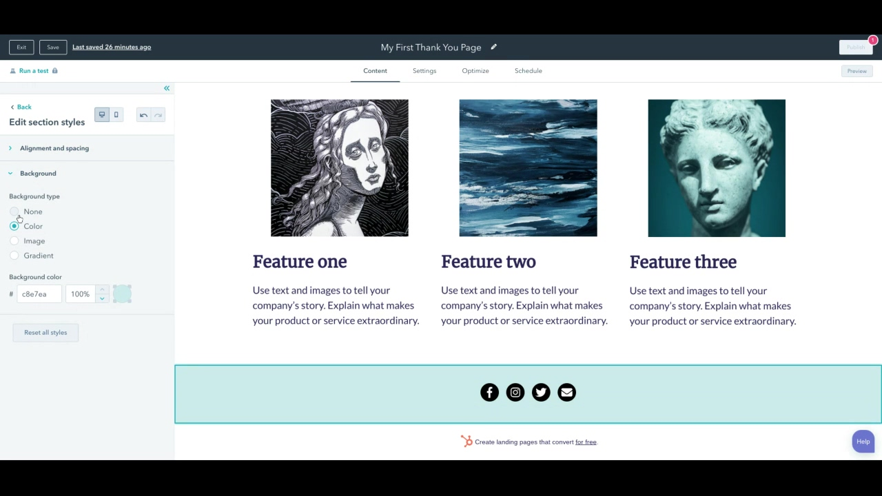 Landing Page Design - Footer