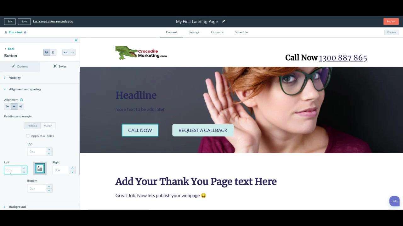 Landing page design - headline offer