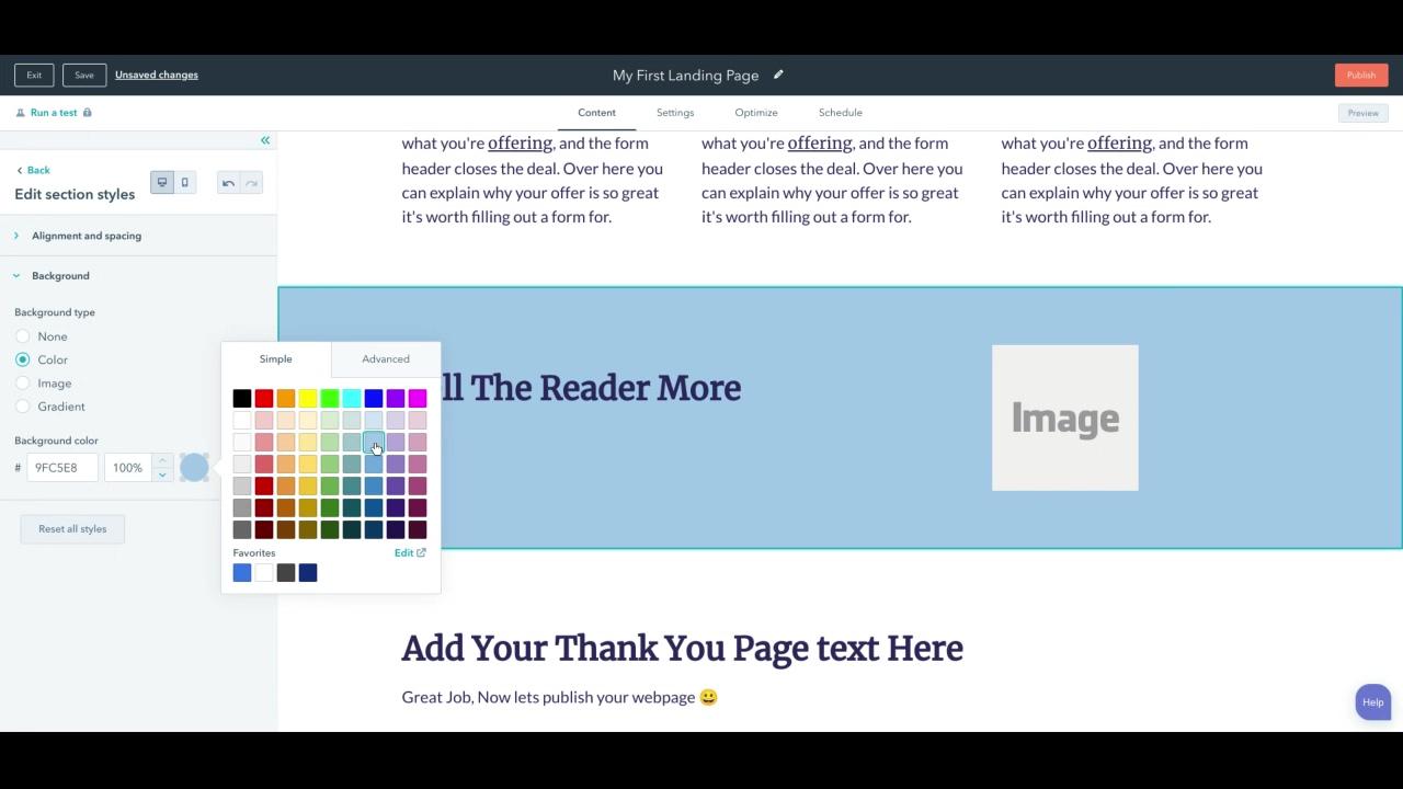 Landing Page Design - More information