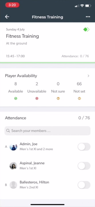 Mark attendance for the training session