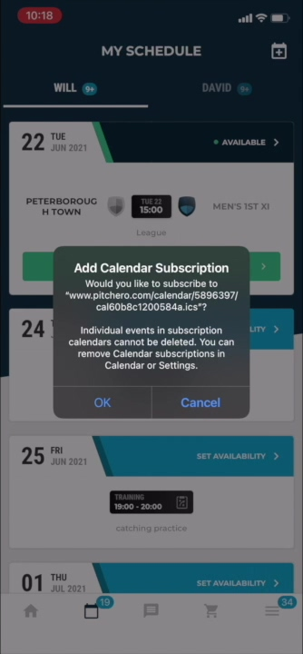 Export my schedule to a calendar app on my mobile device