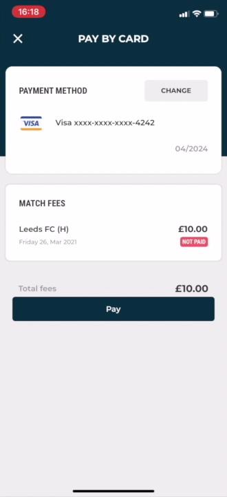 Club app _ pay single match fee _ with cursor