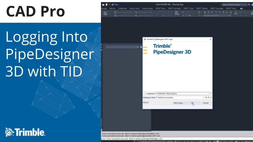 Logging into Trimble PipeDesigner 3D with Trimble Identity (TID) Video