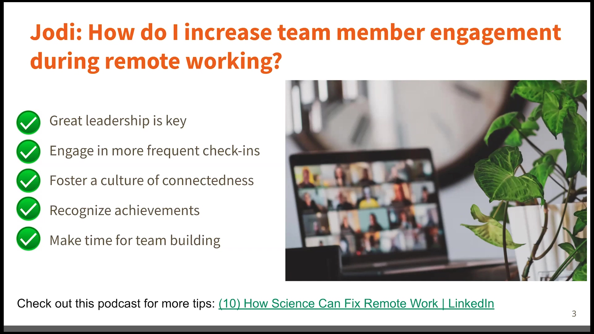 leadership live session - engage employees remotely