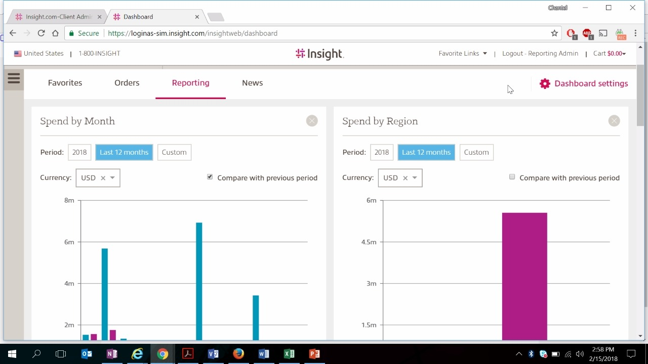 Video displaying reporting dashboard on myInsight