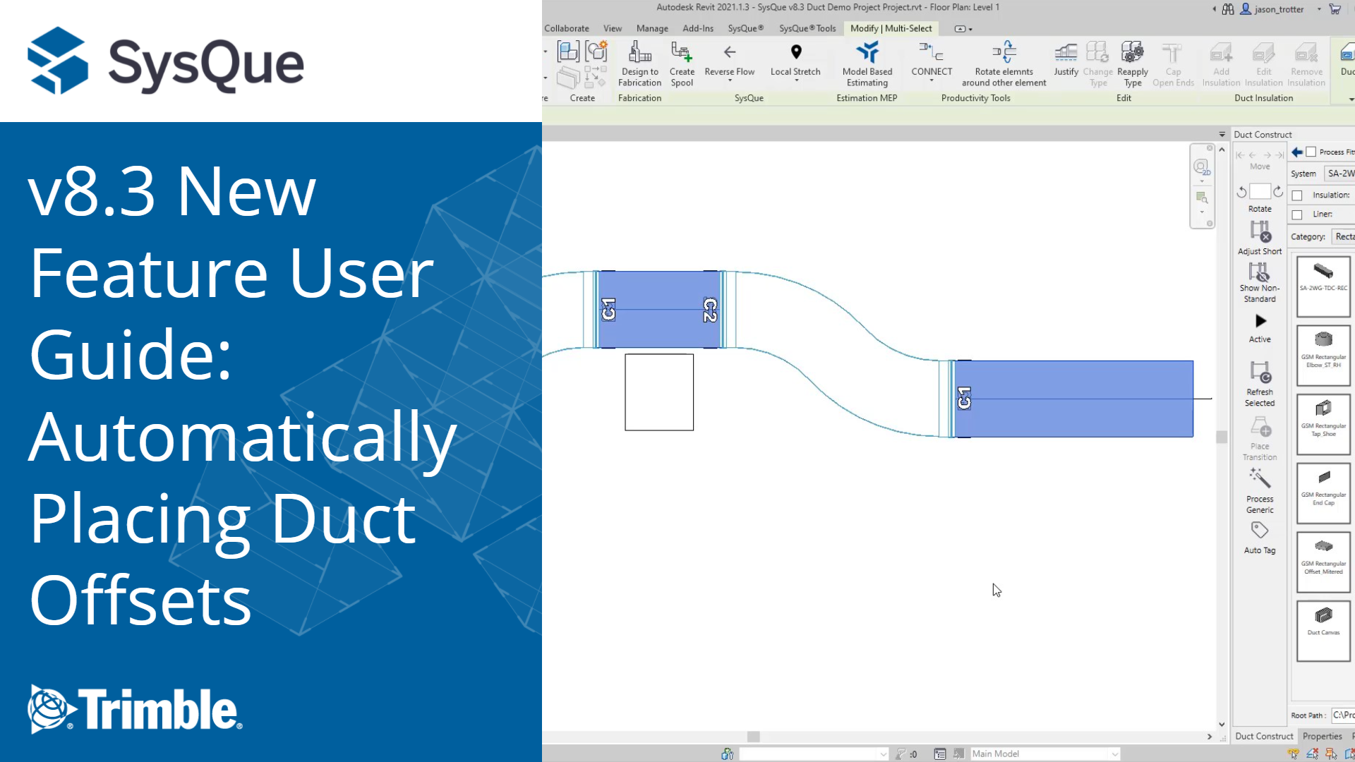 SysQue v8.3 New Feature User Guide: Automatically Placing Duct Offsets