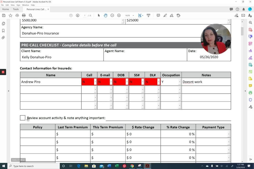 AppX Retention Call Sheet Contact Information