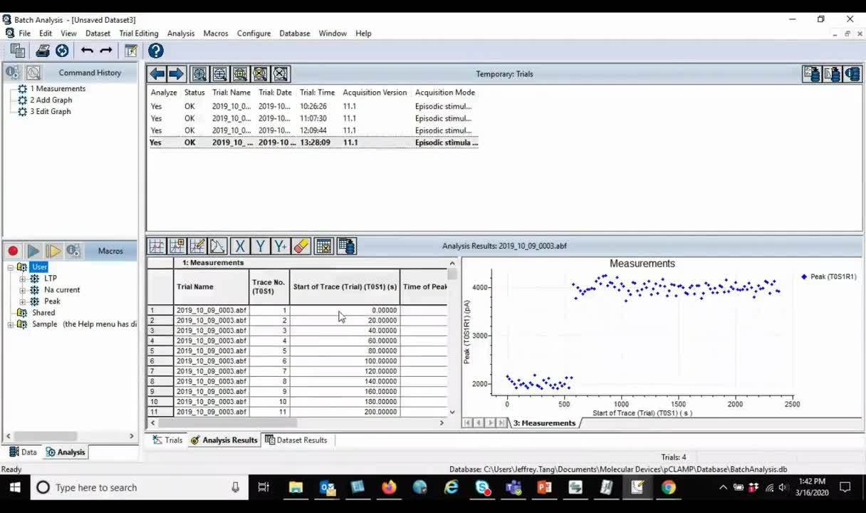 Batch Analysis feature in Axon pCLAMP 11 Software