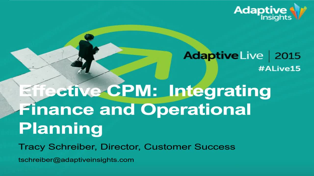 Screenshot for Effective CPM: Integrating Finance and Operational Planning