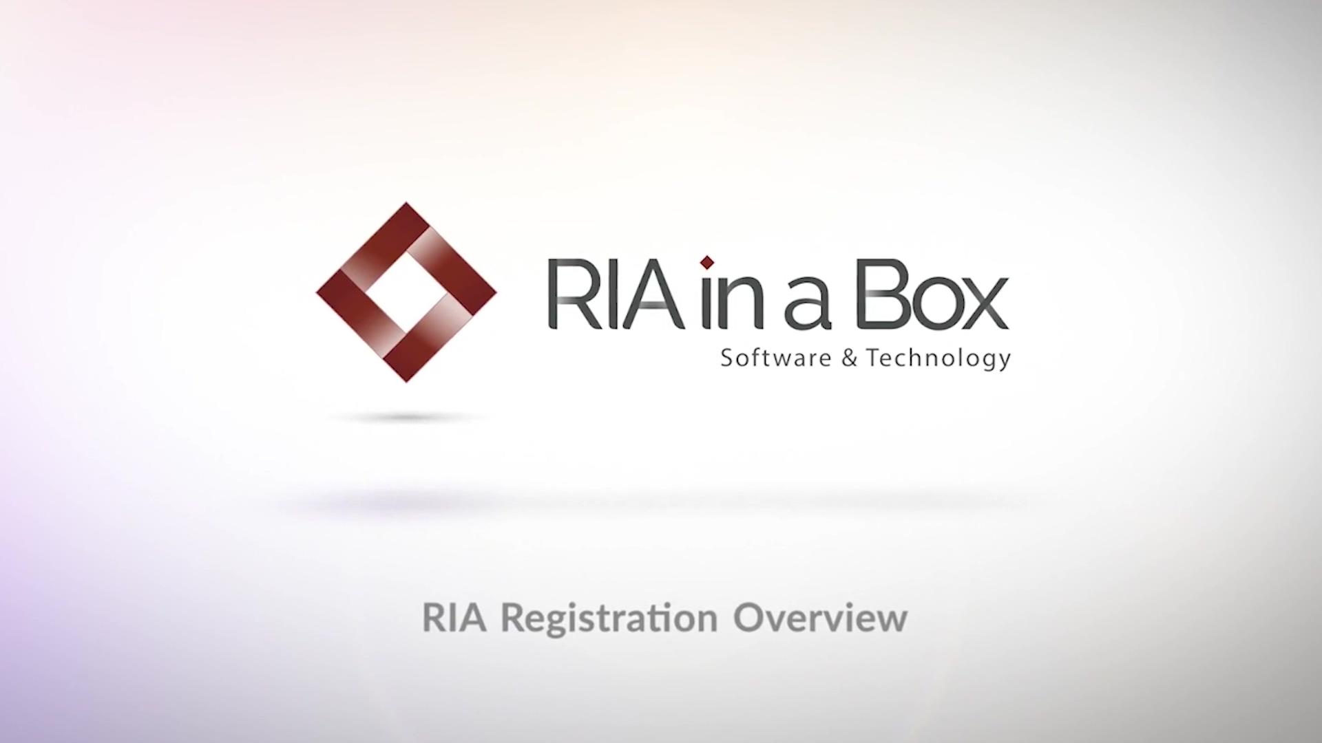 RIA Registration Overview