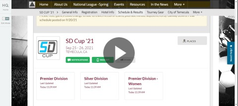SD Cup Schedule