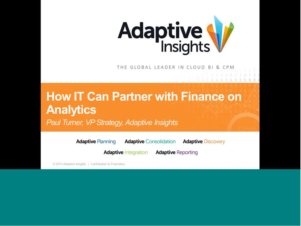 Screenshot for Technology Webinar Series: How IT Tin Partner With Finance on Analytics