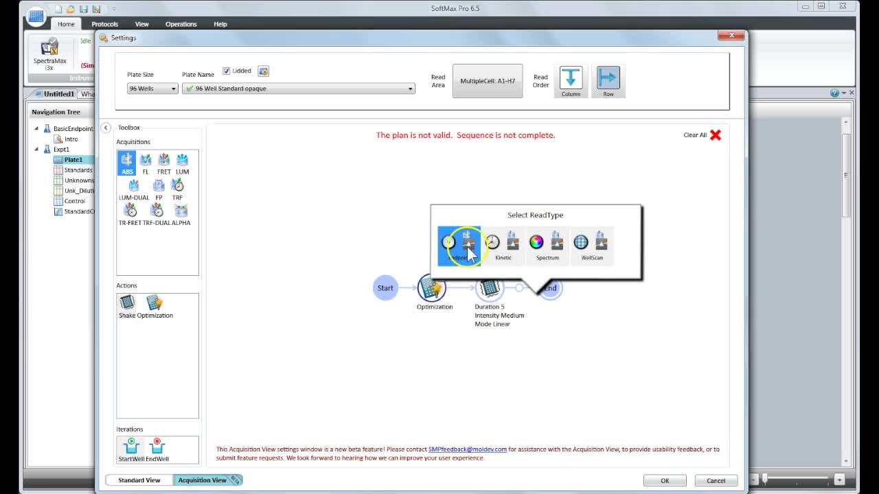 SoftMax Pro 6.5 Acquisition View