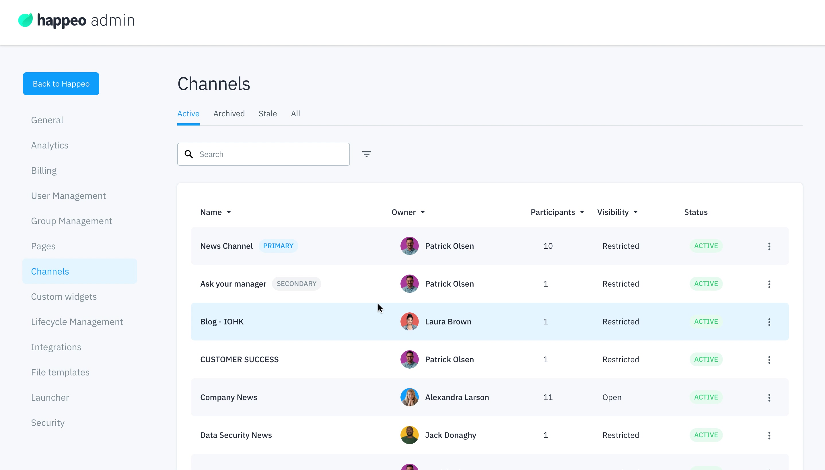 Manage Channels from the Admin Panel 1