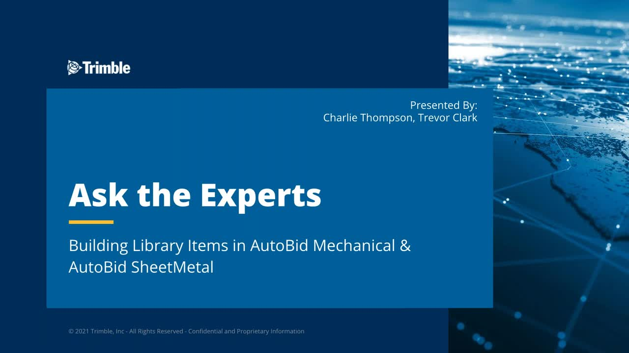 Ask the Expert - Building Library Items in AutoBid Mechanical & AutoBid SheetMetal
