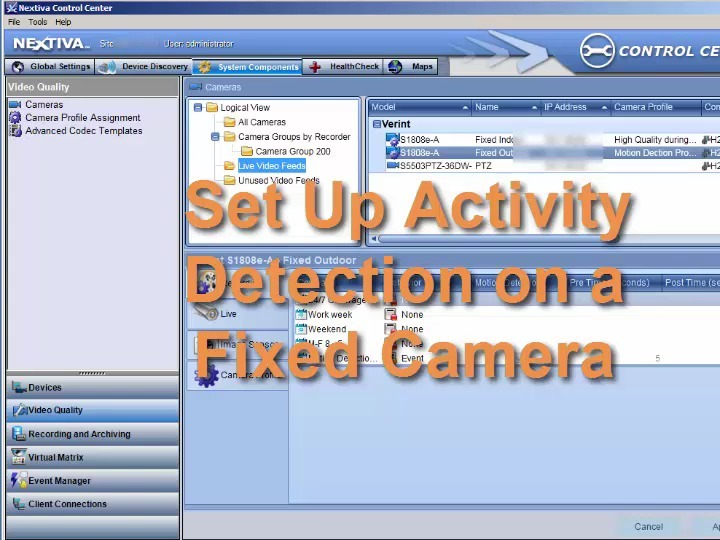 Set up Activity Detection on a Fixed Camera