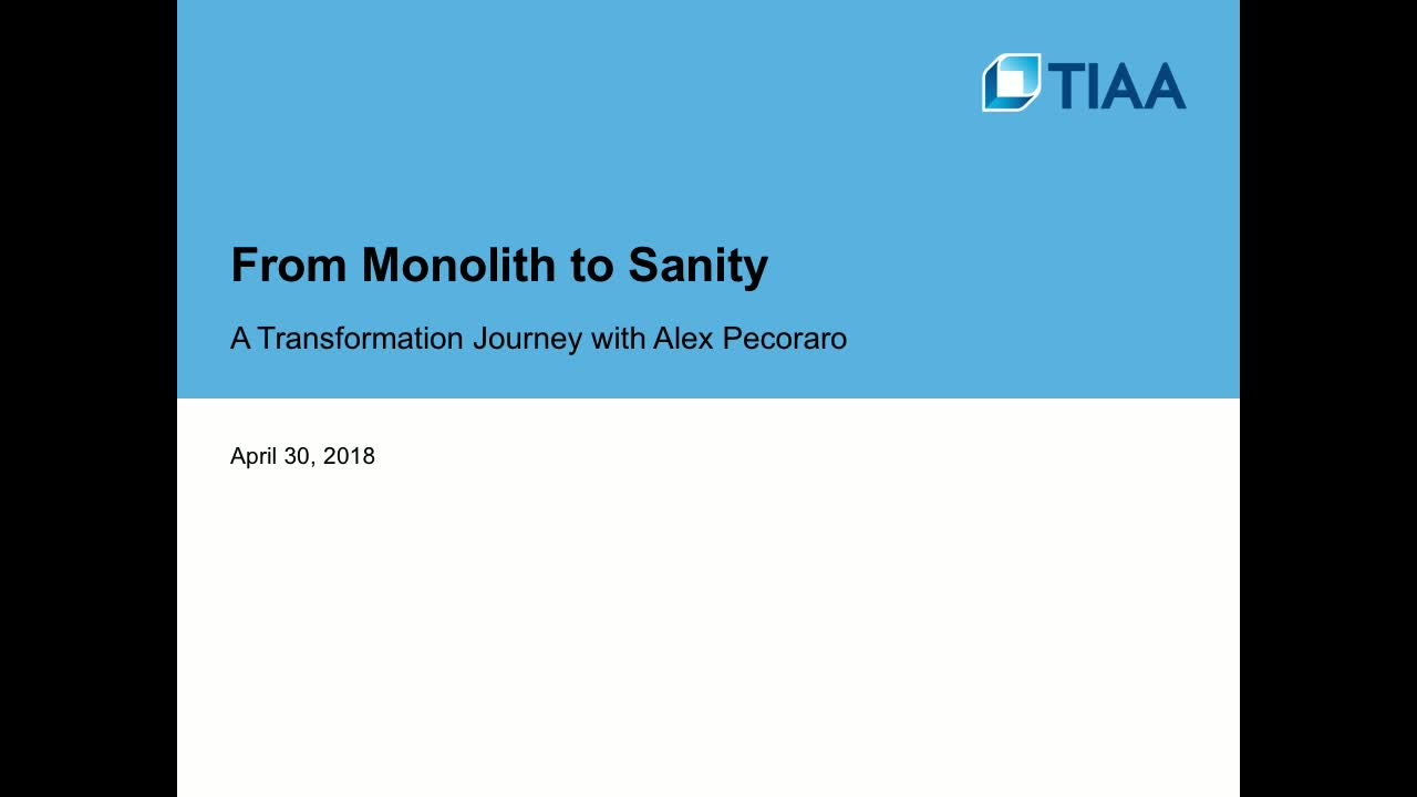 CONNECT 2018: From monolith to sanity