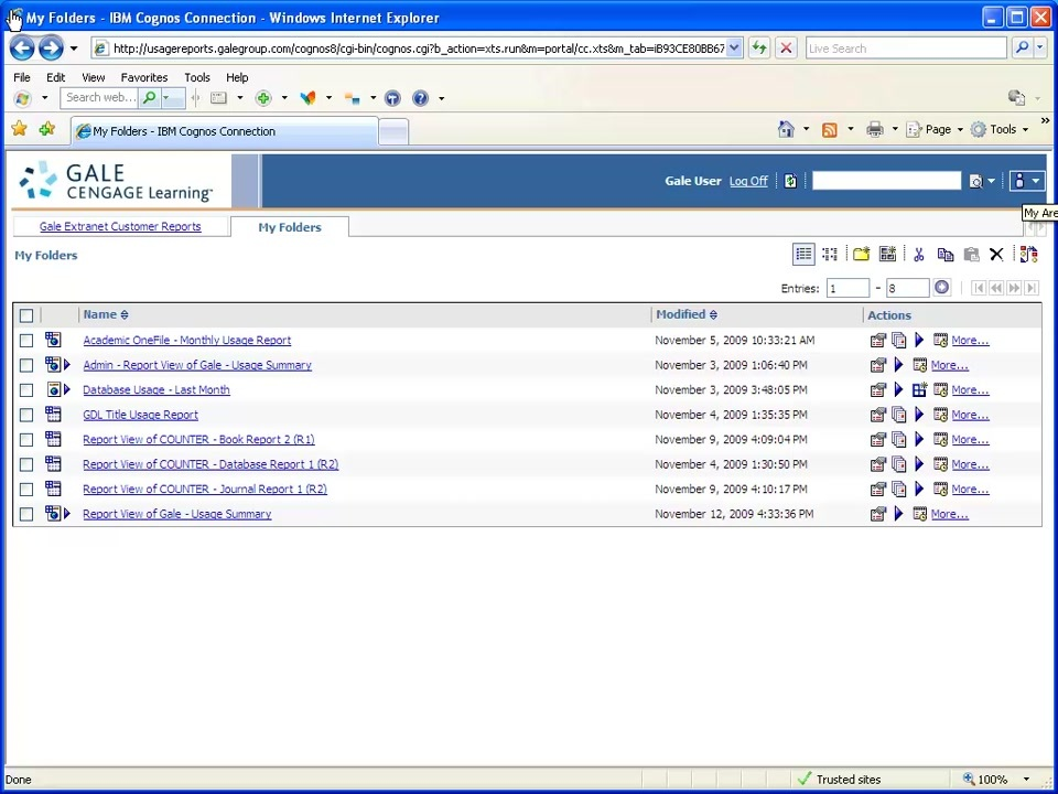 Gale Usage Portal  My Activities and Schedules Thumbnail