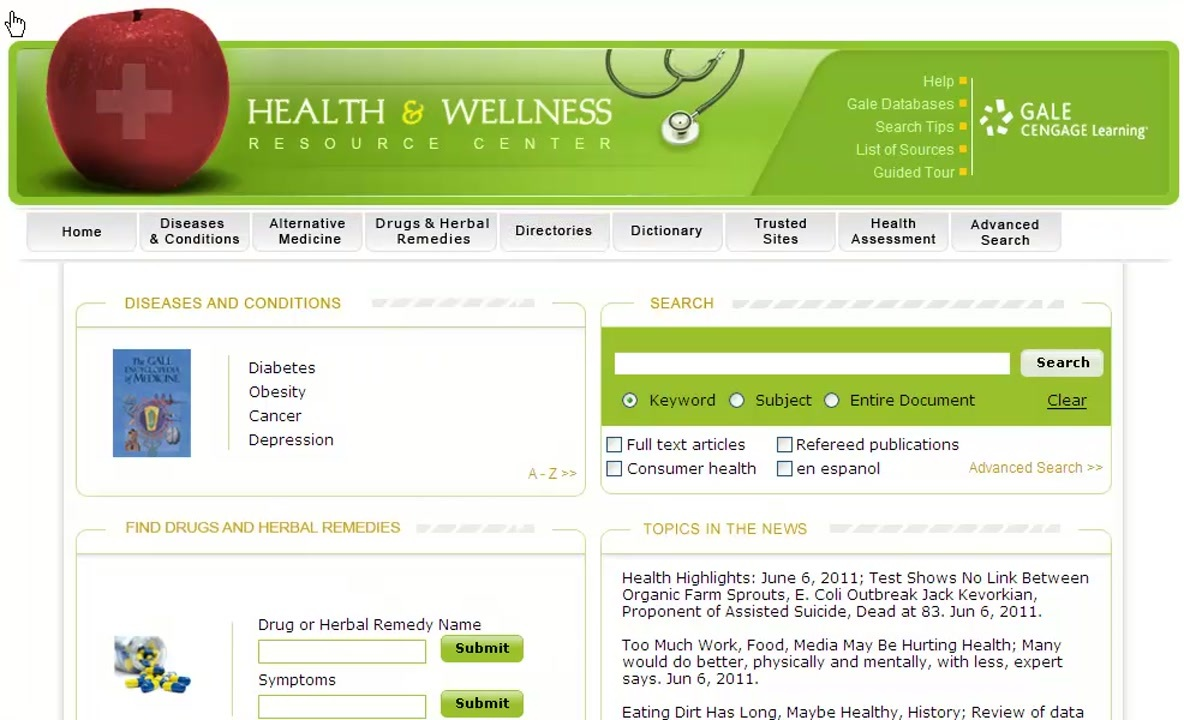 Health & Wellness Resource Center - Menu Tabs