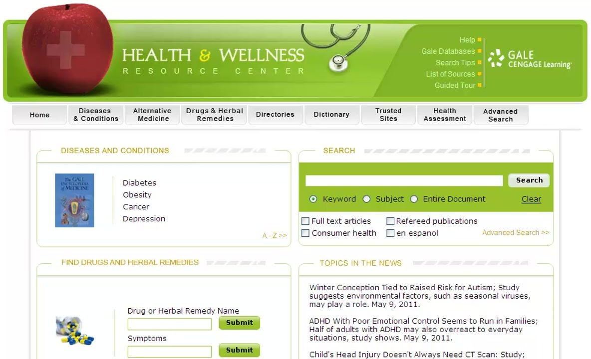 Health & Wellness Resource Center - Basic Search and Homepage Features