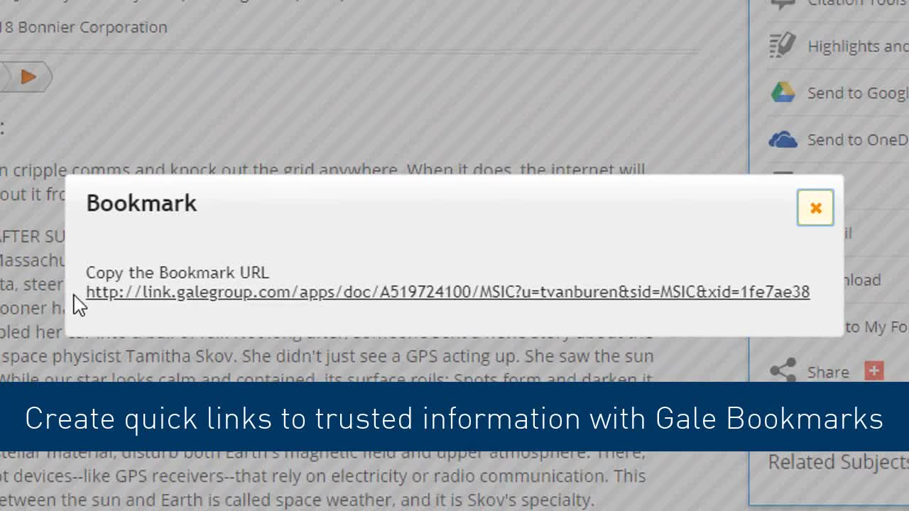 Gale Tools - Bookmarking Thumbnail