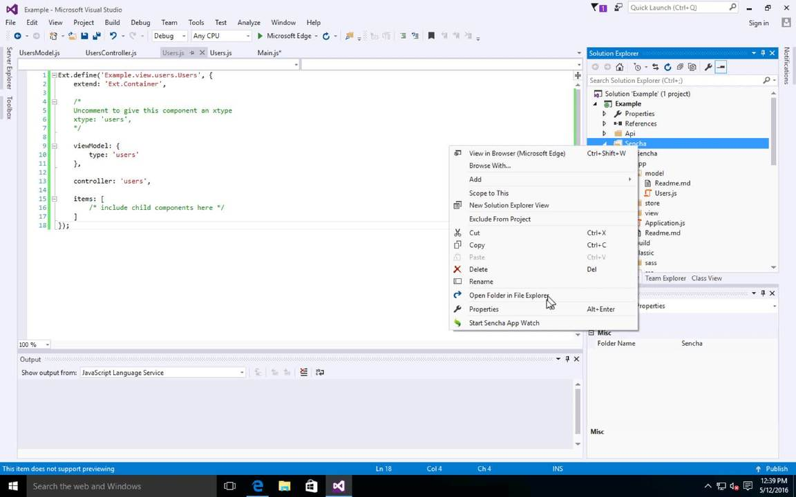 Visual Studio Plugin for Ext JS