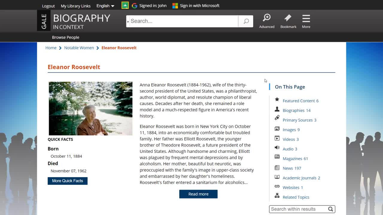 Biography In Context - Topic Pages Thumbnail