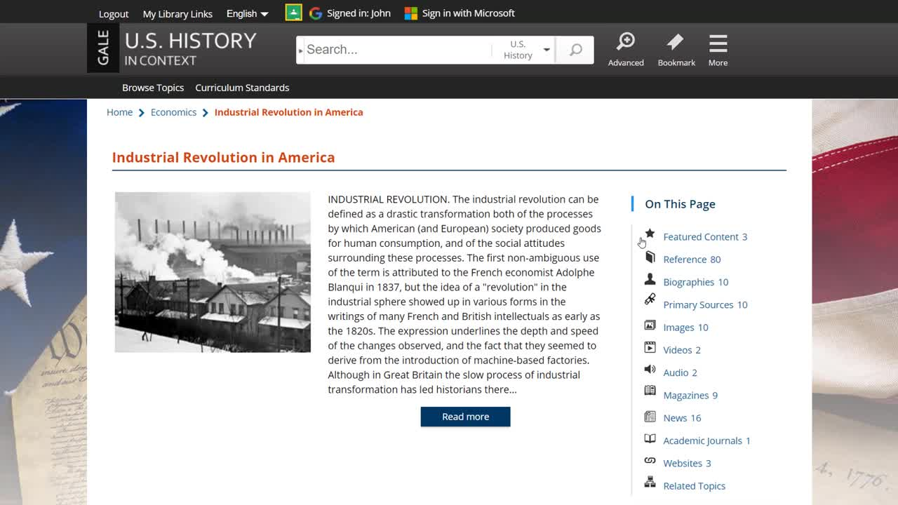 U.S. History In Context - Topic Pages Thumbnail