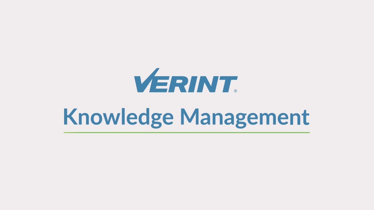 Verint Knowledge Management