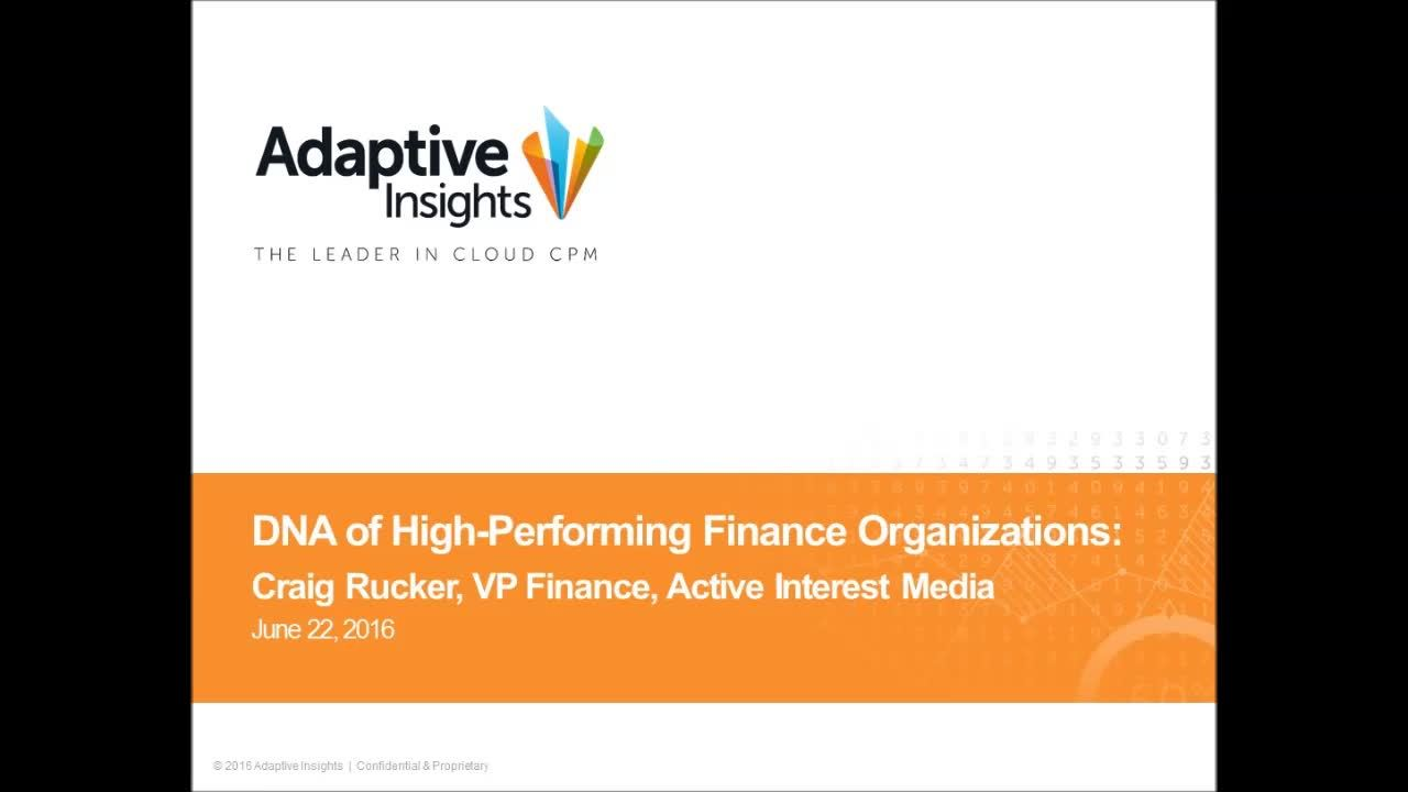 Screenshot for The DNA of High Performing Finance Organizations