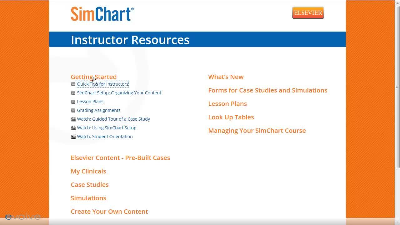 SimChart Instructor Resources
