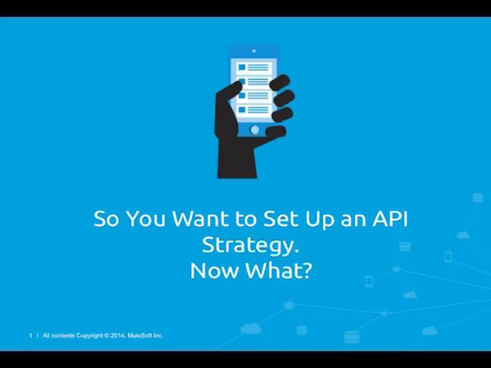 Webinar: So You Want to Set Up an API Strategy. Now What?