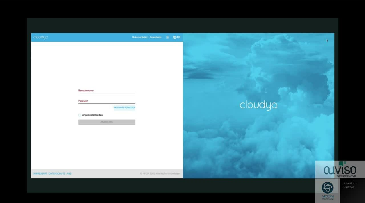 Cloudya - Web App - Einloggen - Passwort vergessen