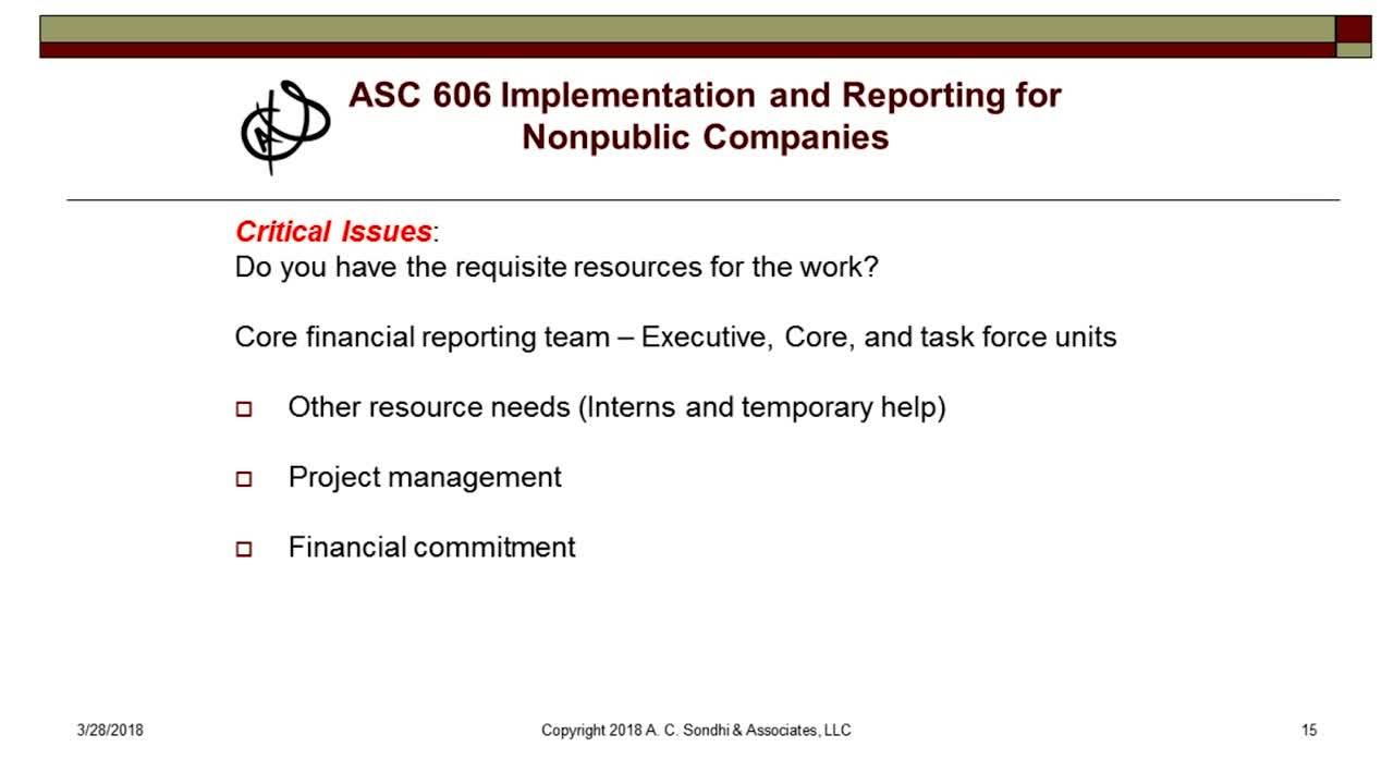 ASC 606 Implementation and Reporting for non public companies