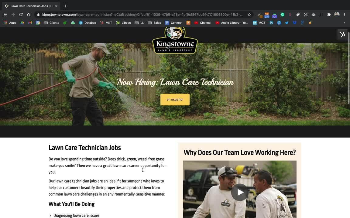 Kingstowne Lawn & Landscape - job position page
