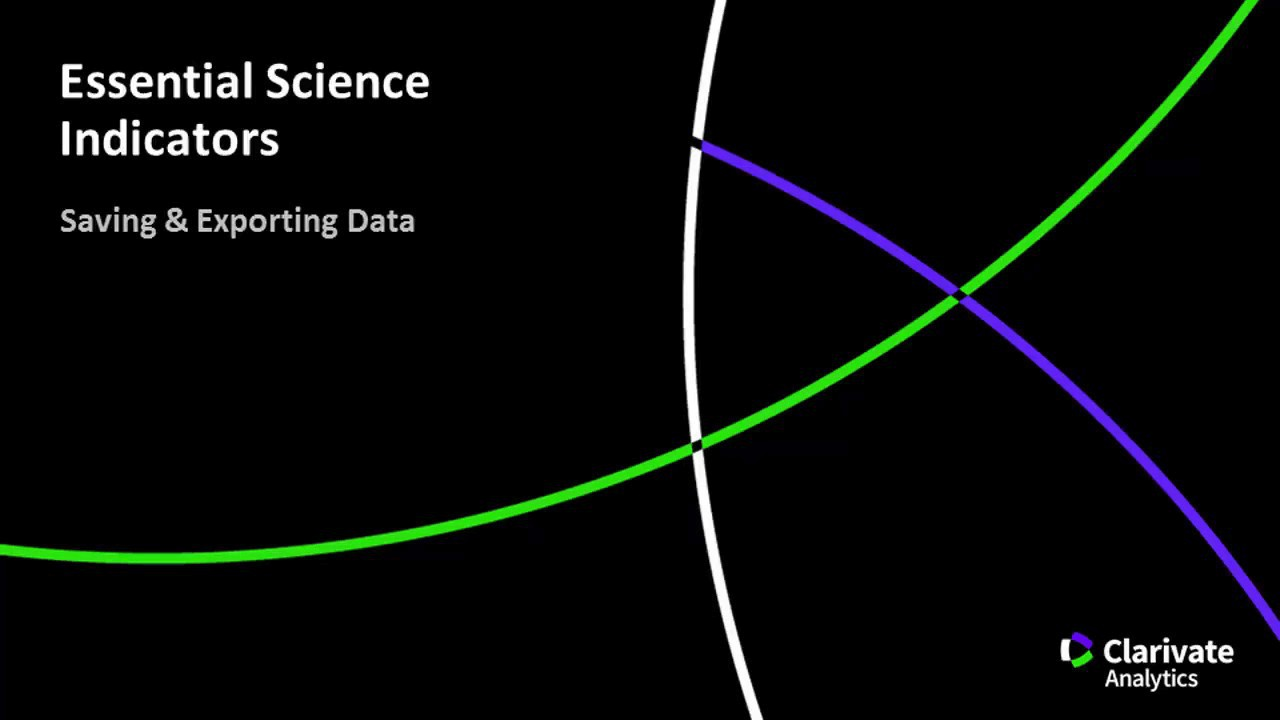 Essential Science Indicators - Saving & Exporting Data