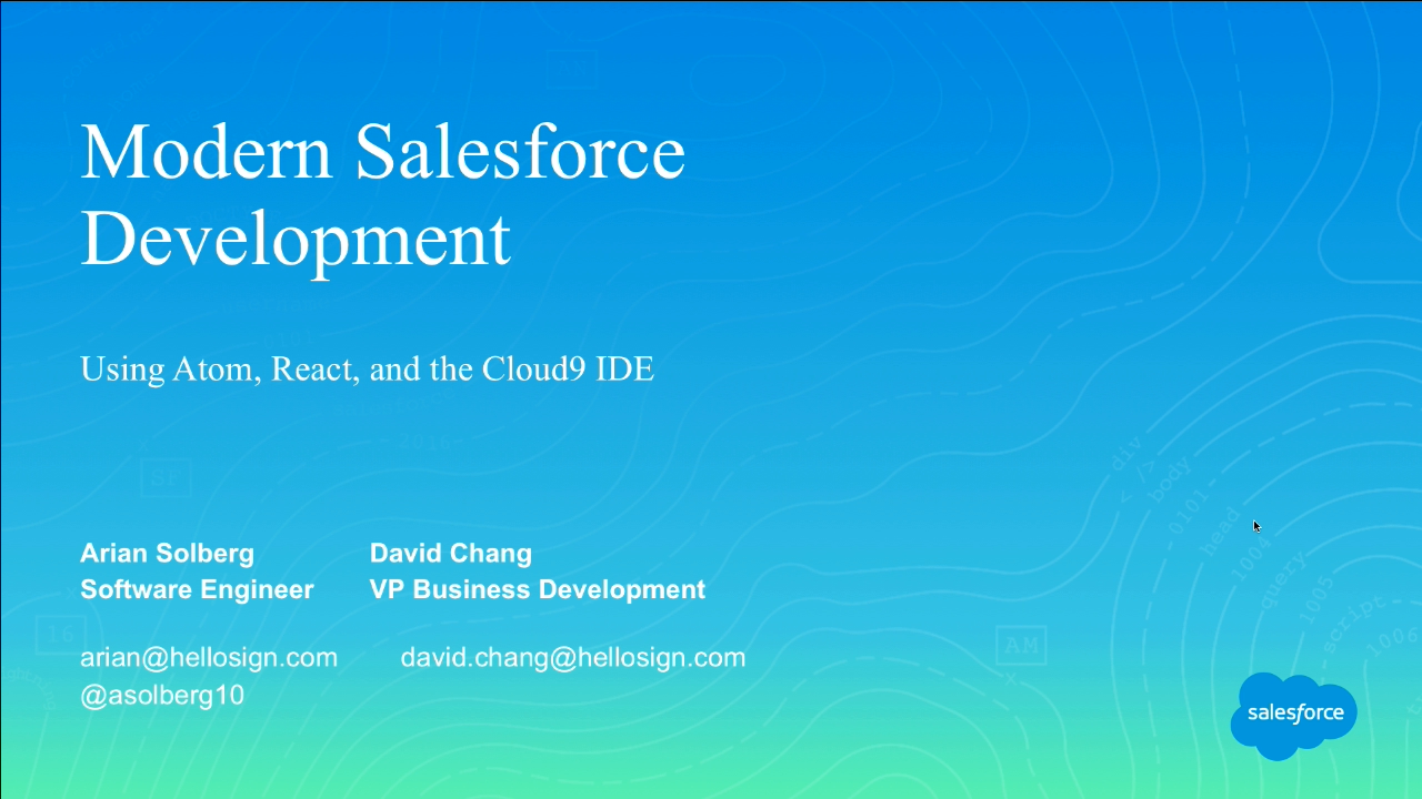 Modern Salesforce Development with Apex, React, and the Cloud9 IDE