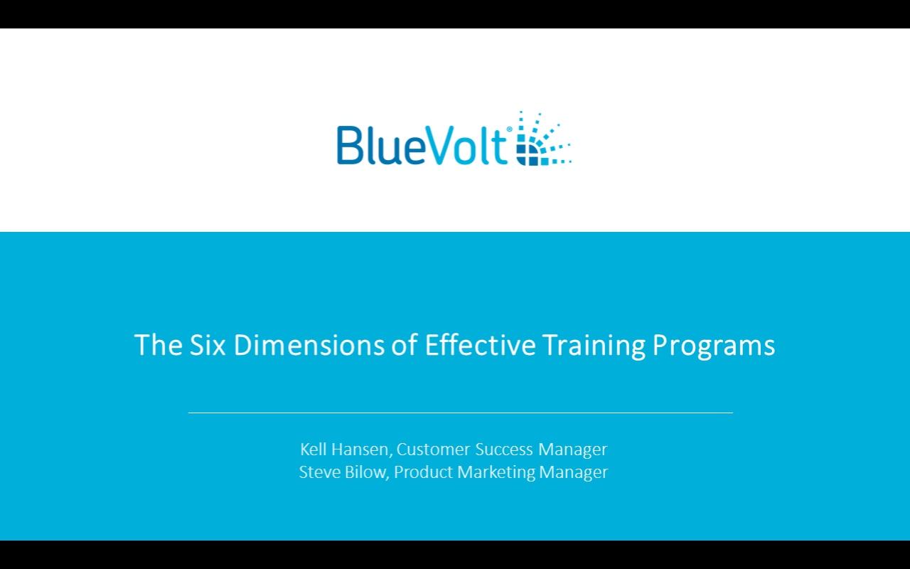 Webinar Recording - 6 Dimensions of Effective Training Programs (Dec 2018)