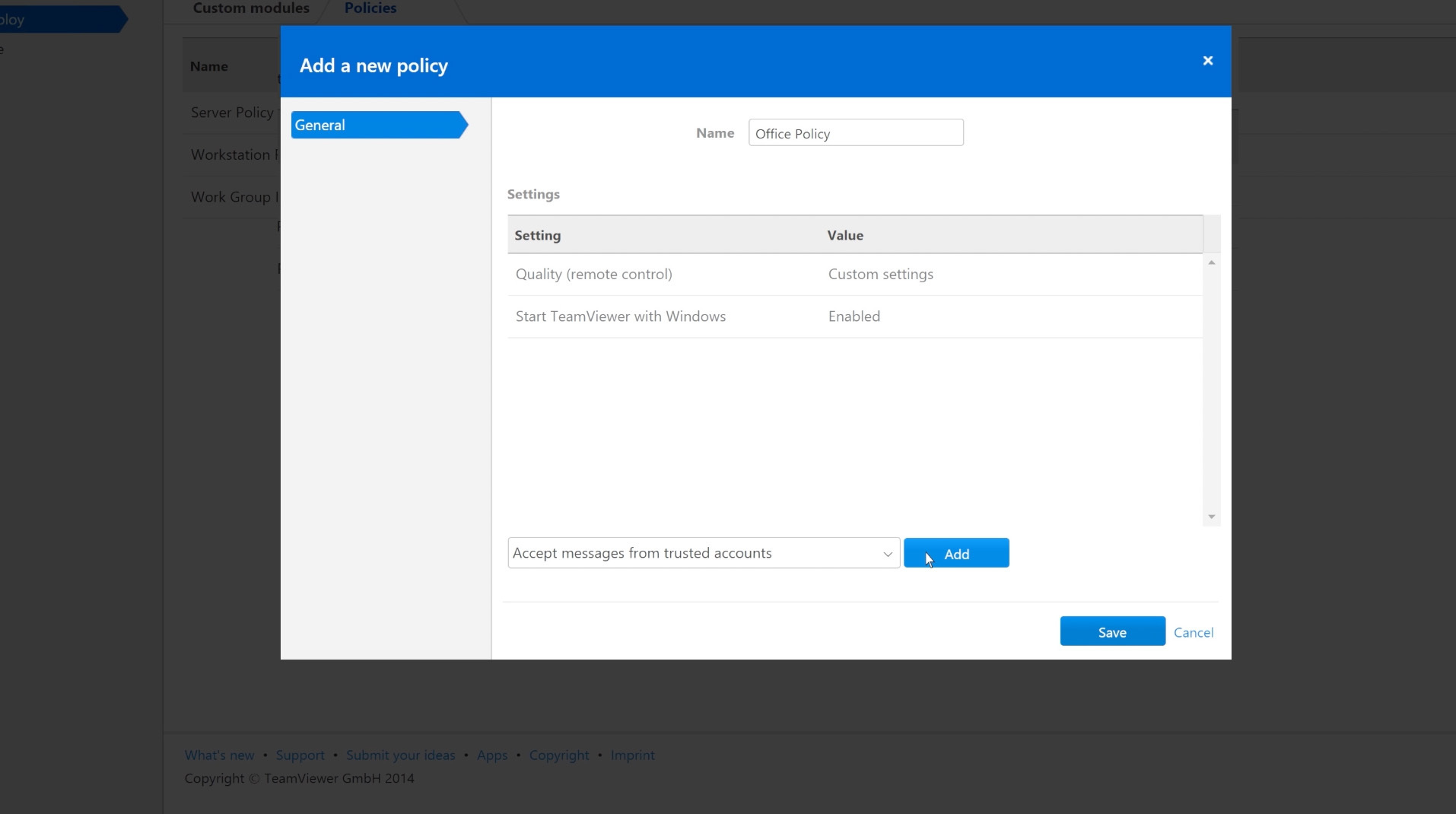 TeamViewer 10 - Creating a Centralized Setting Policy