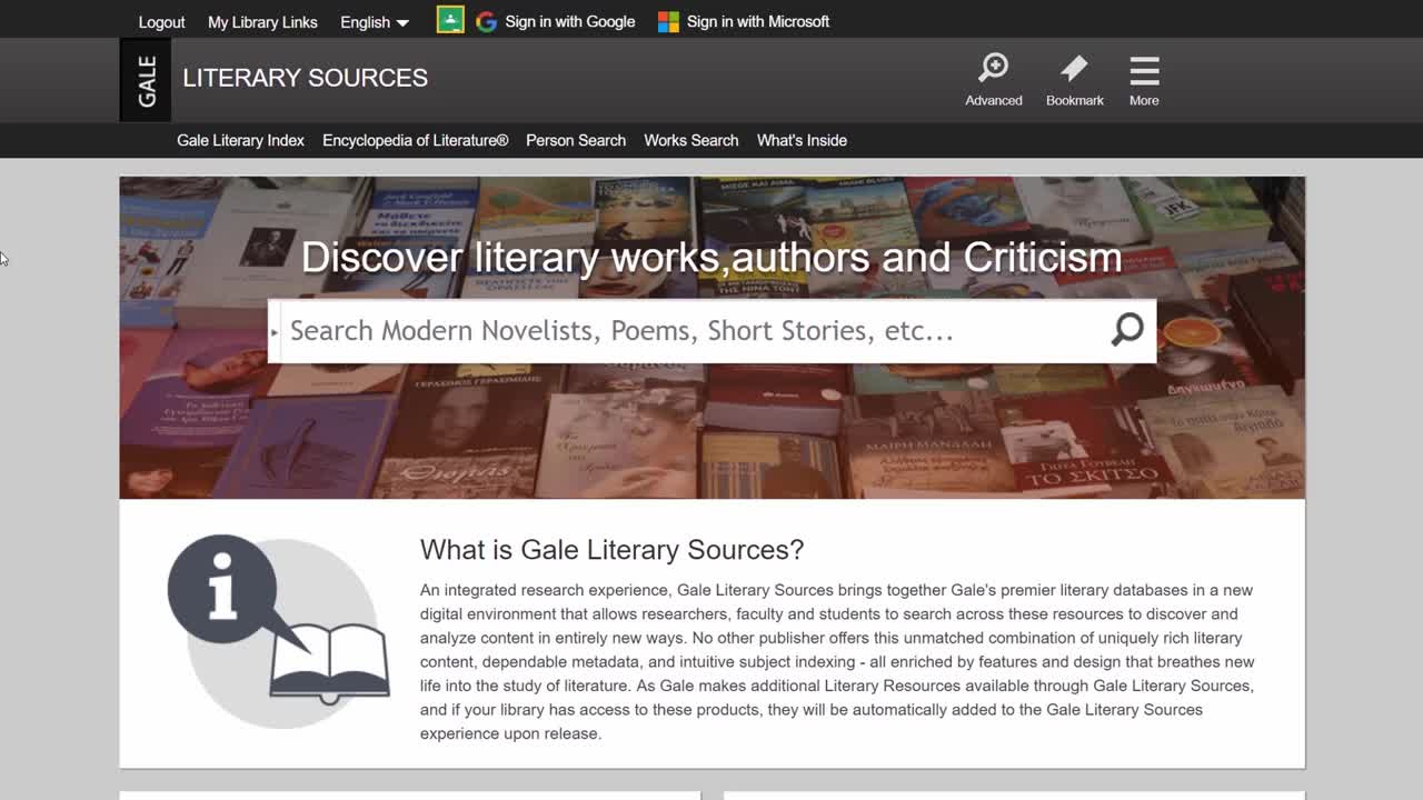 Gale Literary Sources - Literary Analysis Thumbnail