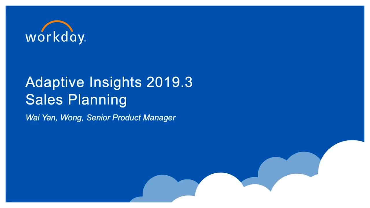 Sales Planning - What's New 2019.3