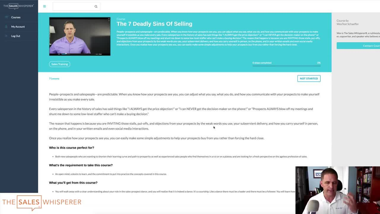 The 7 Deadly Sins of Selling Free 7-Part Video Course With Workbook