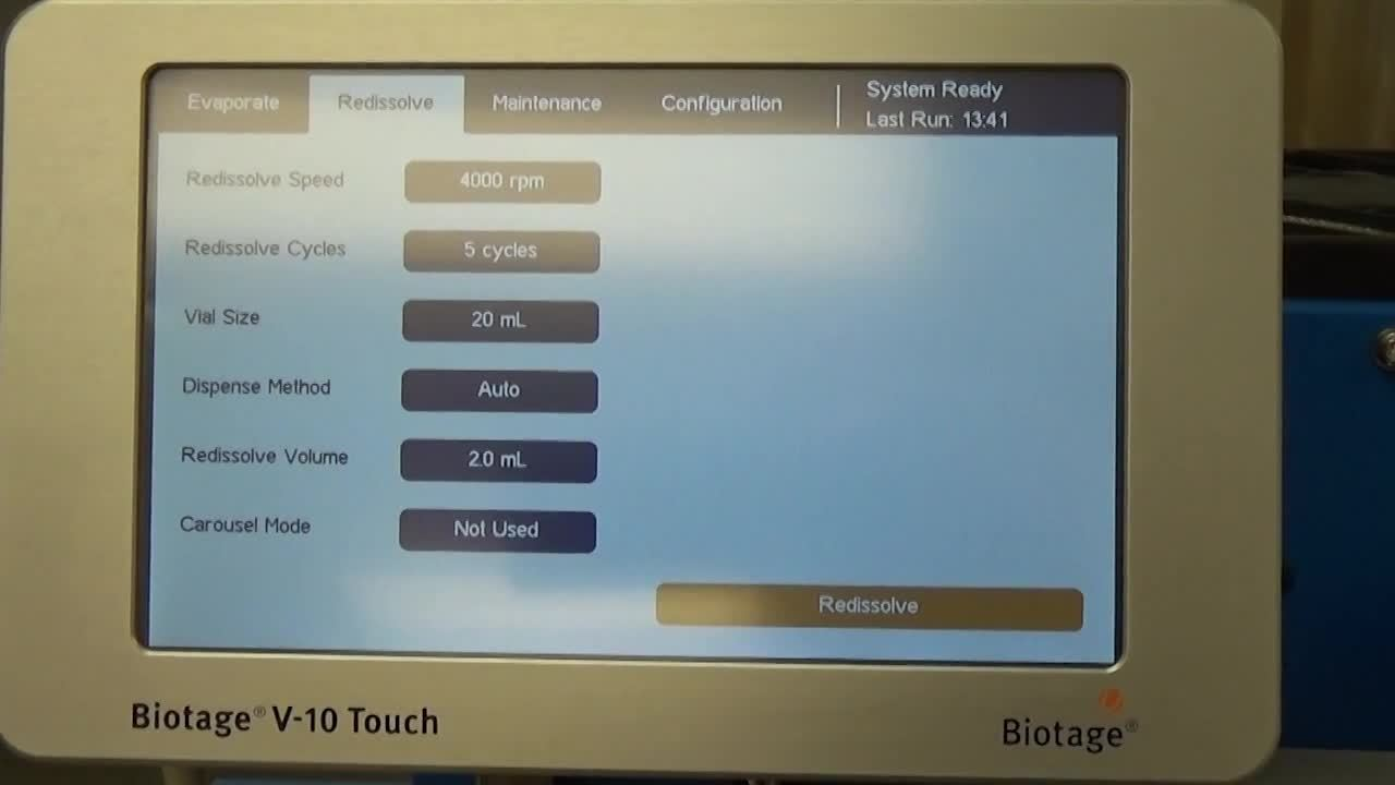 Biotage® V-10 Touch Demo Part 5 of 8 – Replacing a Solvent